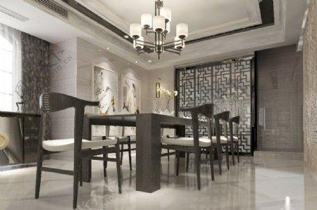 现代中式效果图餐厅明亮MAX