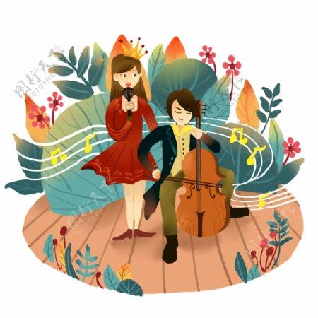 音乐节场景大提琴唱歌两人花草文艺小清新