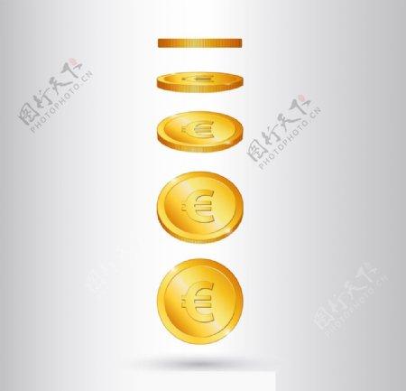 欧元硬币矢量图