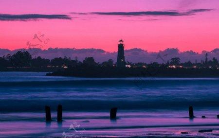 紫色晚霞风景