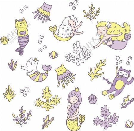 卡通美人鱼矢量图下载
