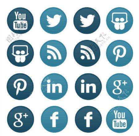 蓝色媒体标志ICO格式