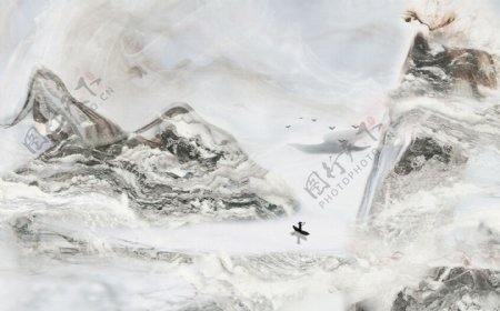 新中式抽象水墨山水大理石背景墙