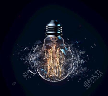 破裂破碎炸裂的灯泡