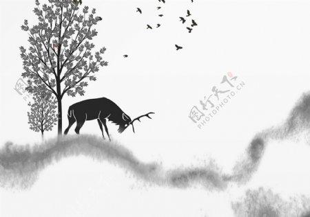 新中式抽象水墨背景墙