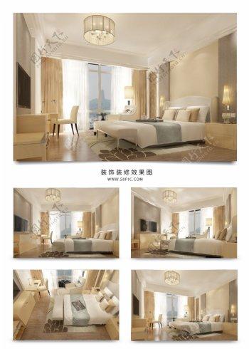 现代效果图包间标准间大床房效果图