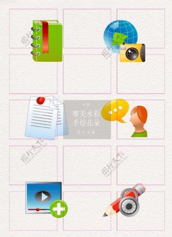 彩色3d立体办公元素icon设计
