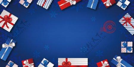 蓝色时尚礼物背景素材