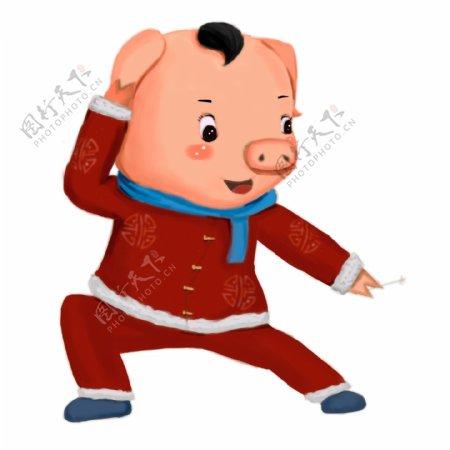 过年穿新衣的卡通小猪设计