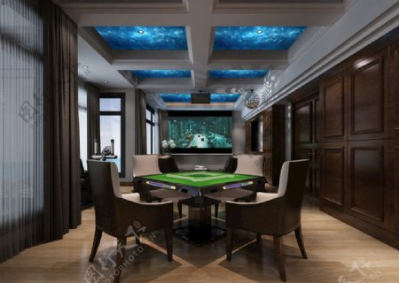 欧式美式客厅麻将桌3D模型