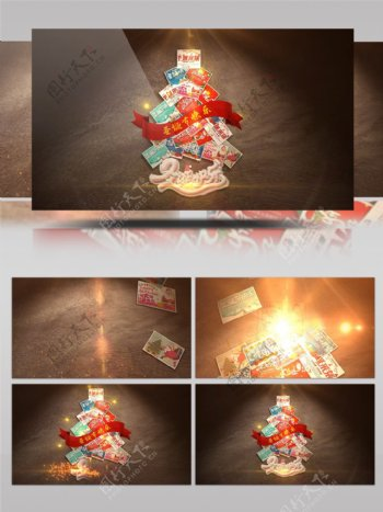 圣诞节圣诞树节日祝福开场片头