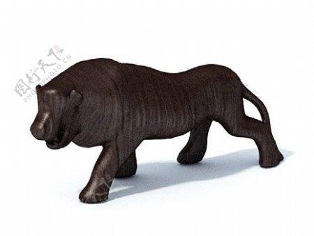 黑色老虎木质3d渲染模型
