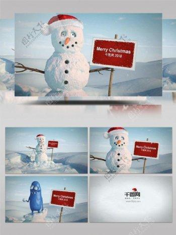 蓝色雪人圣诞节日庆祝祝福ae模板