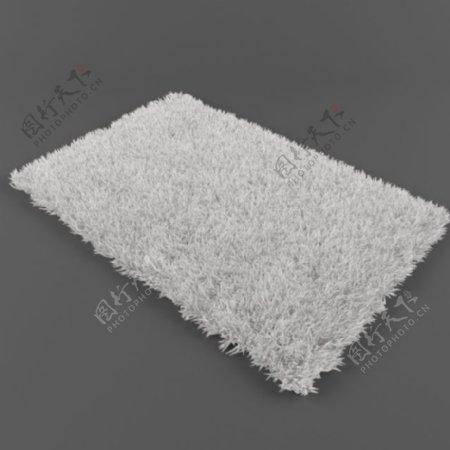 纯白长毛地毯3d模型