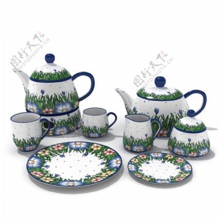 整套茶具餐具泡茶工具杯子茶壶3d模型