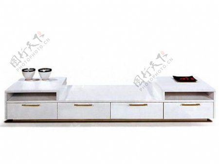 纯白色电视柜模型