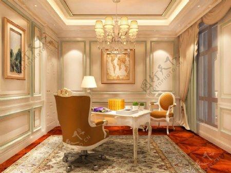 欧式别墅书房背景墙装饰装修效果图