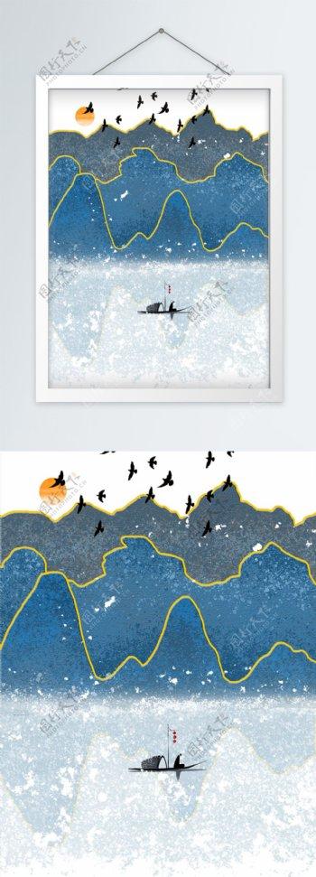 水墨抽象中式山水装饰画