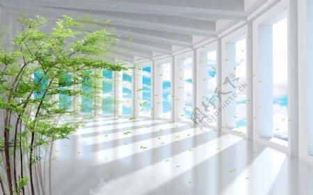 白色建筑走廓阳光照射壁画海报
