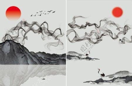 新中式抽象水墨山水装饰画