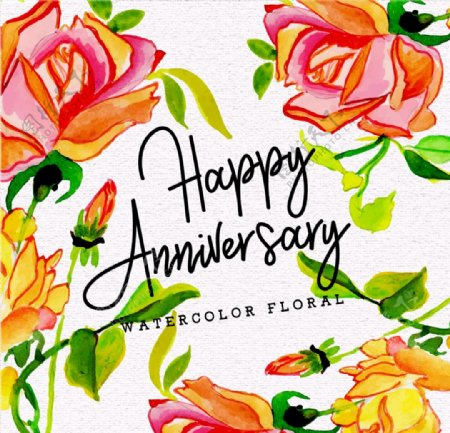 彩绘玫瑰花纪念日海报矢量图