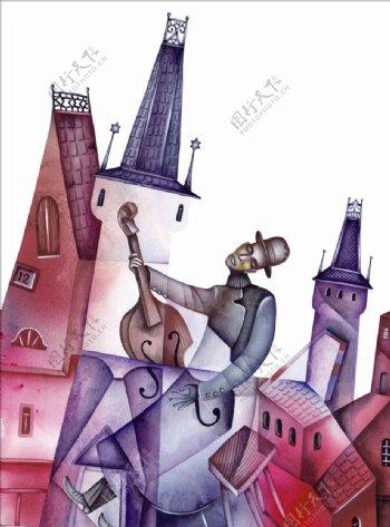 弹大提琴的人物油画