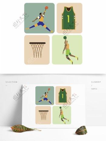 蓝绿色系NBA运动人物及装饰物设计