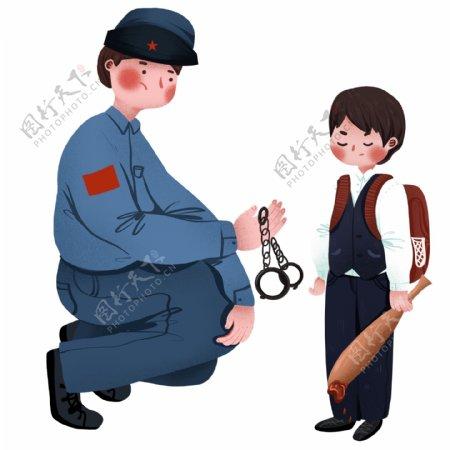 复古手绘警察和抽烟的青少年