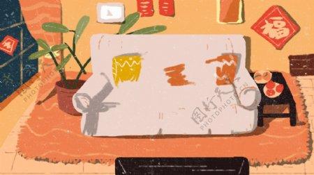 手绘家居沙发背景设计