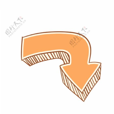 橙色小清新手绘箭头