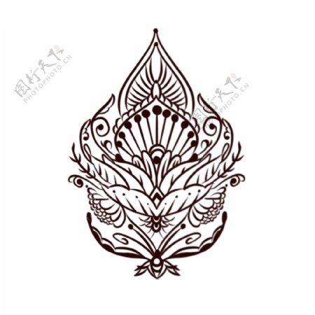 欧美纹身手稿手绘欧式花纹图腾