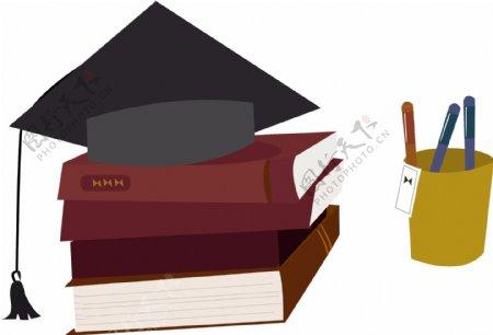 带有书本和笔筒的学士帽