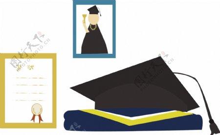 带有学士服的学士帽