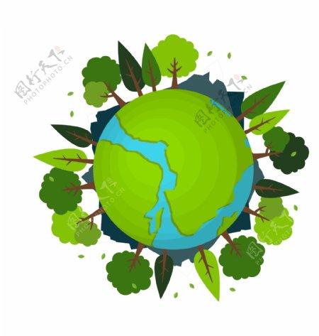 卡通绿色森林保护地球矢量图片
