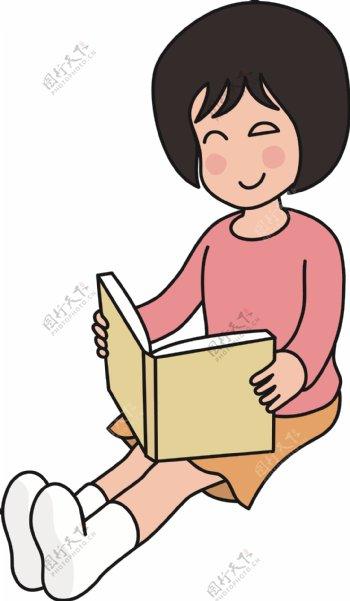 坐着看书的可爱短发描边小女孩矢量