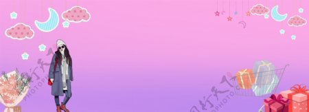 紫红色少女banner背景图片