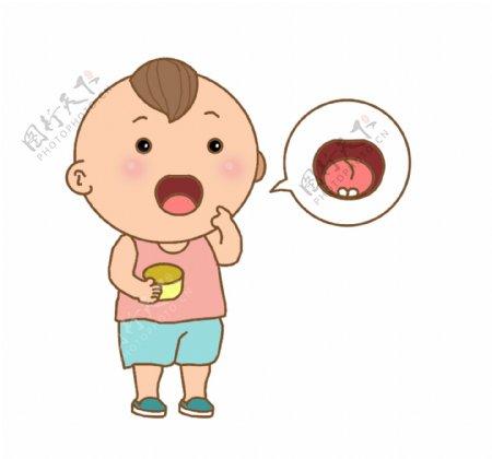生病的小孩插画装饰
