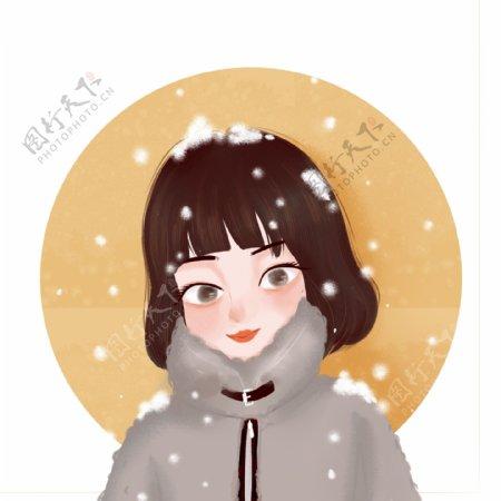 短发女孩下雪可爱雪中女生手绘卡通人物头像