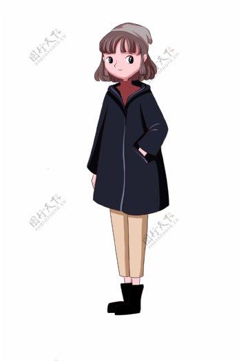 短裙卡通短发发箍手绘动画小女孩欢乐