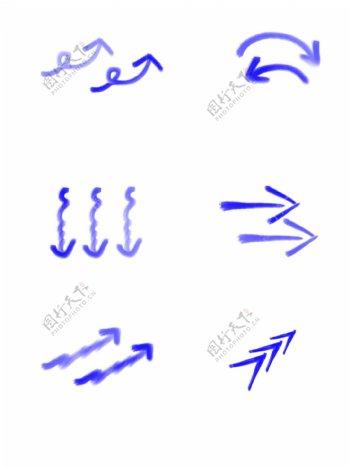 多种蓝色箭头标志图案