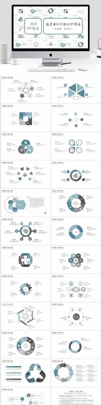 递进循环可视化PPT图表