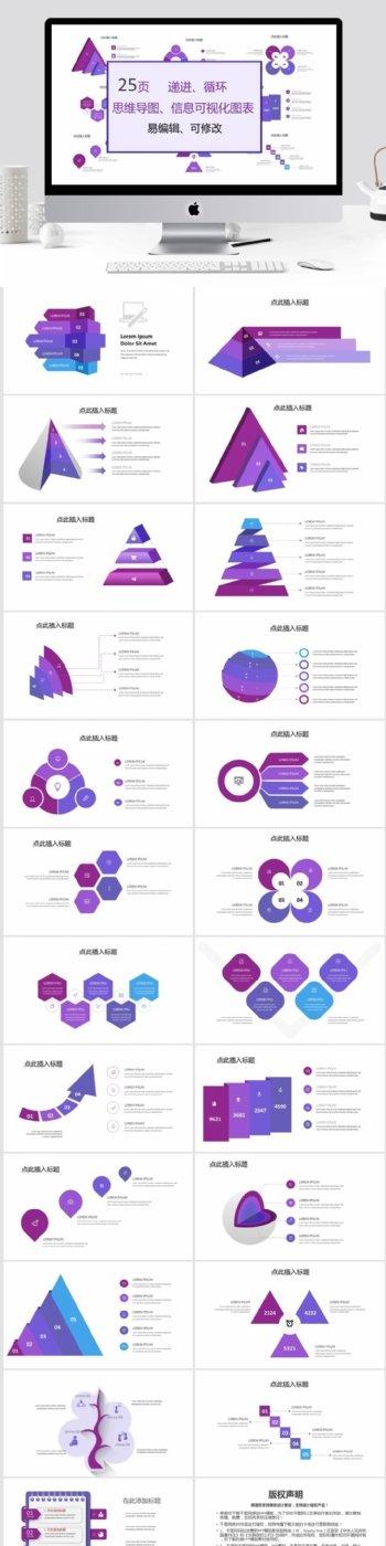 递进循环思维导图信息可视化图表集