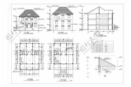 欧式别墅建筑CAD施工图纸