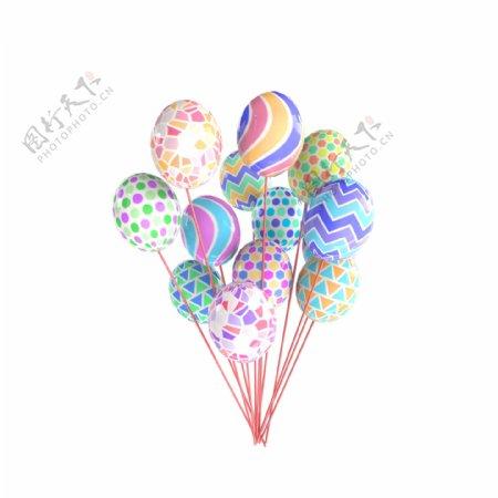 3D彩色气球卡通气球生日元素