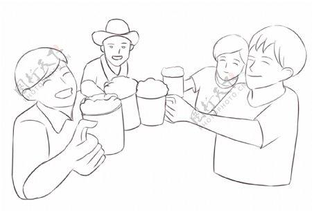 举杯喝酒三人聚餐啤酒卡通手绘