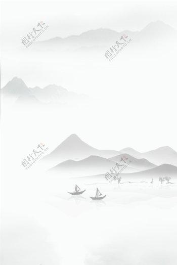 清新淡雅水墨中国风海报H5背景psd下载