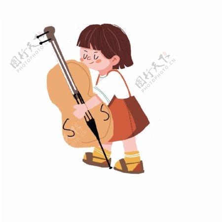 卡通可爱拉大提琴的女孩