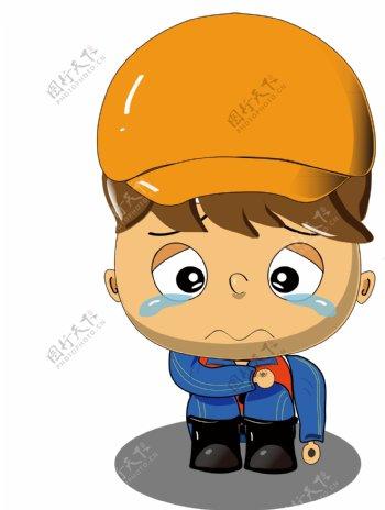 铁路工人卡通伤心表情设计素材