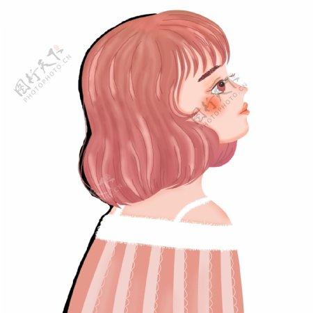 唯美手绘一个短发女孩人物设计