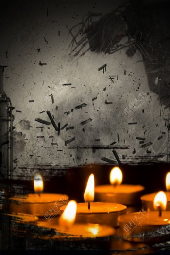 地震自然灾害蜡烛祈祷背景海报